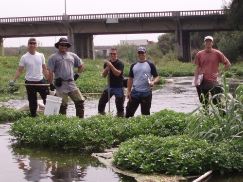 Field crew at a bioassessment monitoring location on the lower Ventura River (Sep. 2006)