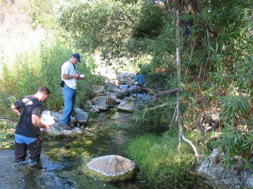 Tommy Liddell and Shane Giller recording physical habitat parameters during bioassessment monitoring along the Ventura River (Sep. 2006)